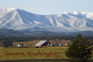 snowy mountains and barn