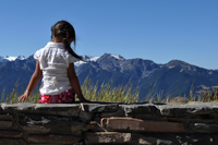 young girl and olympic mountains